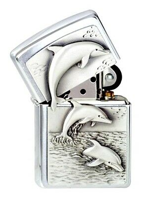 """ZIPPO """"DOLPHINS"""" 3D EMBLEM BRUSHED CHROME LIGHTER / 1900456 ** NEW in BOX **"""