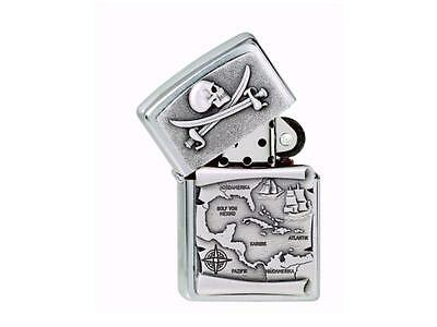 "Zippo ""pirate"" 3D Skull Map Ship Chrome Lighter / 1300088 ** New In Box **"