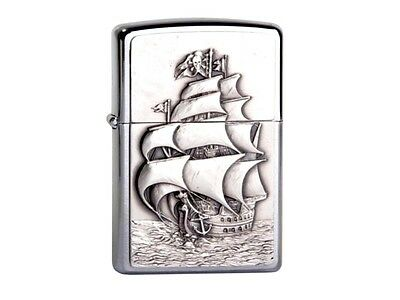 "Zippo ""pirates Ship"" 3D Emblem Chrome Lighter / 1300154 ** New In Box **"