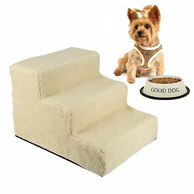 Pet Dog Ladder Soft Plush Doggy Stairs Washable Cover Portable Ramp 3 Steps