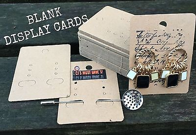 ✿ 50 Kraft Jewellery Display Cards. Craft Earrings Pins Brooches Stamping Decor