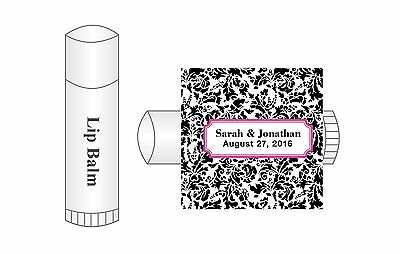 20 Personalized Lip Balm Damask Glossy Wedding Favor Labels Stickers