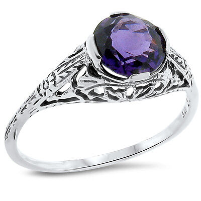 Lab Amethyst Antique Art Deco Style 925 Sterling Silver Ring Size 6.75,     #167