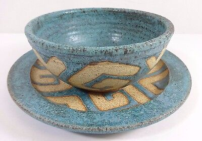 STONEWARE Turquoise and Sand Design Bowl and Plate Colorado Art