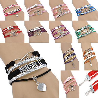 NEW Jewelry Fashion Leather Cute Infinity  Family Member Charm Bracelet Silver