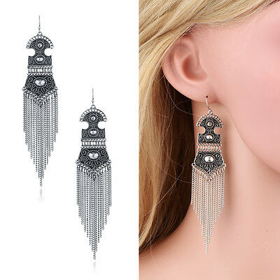 Womens Vintage Silver Retro Bohemia Filigree Chains Tassel Drop Earrings Jewerly