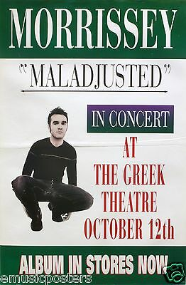 """Morrissey 1997 """"maladjusted-In Concert At The Greek Theatre"""" Los Angeles Poster"""