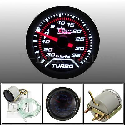 Universal 52mm 2″ White LED Car Turbo Boost Press Pressure Gauge Smoked Dial Psi