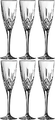 Royal Doulton Crystal Earlswood 6 Champagne Flutes (Boxed) - New