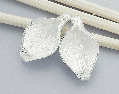 925 Sterling Silver 2 Calla Lilly Bead Caps 10.5x18mm.
