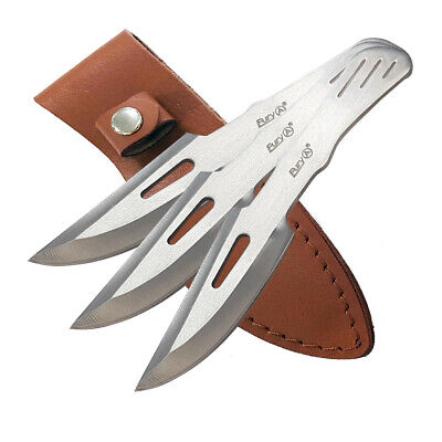 Fury Throwing Knife Set - 3 Knives In Leather Sheath - Well Balanced (60021)
