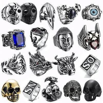 316L Stainless steel steam men punk ring skull cool gothic rings Men's Jewelry U
