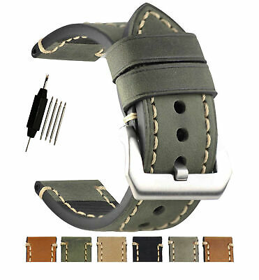Replacement Genuine Leather Wrist Watch Band Strap Silver Buckle 20 22 24 26mm