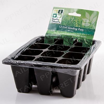 4 x SEEDLING PLANTER TRAYS 12 CELL Garden Starter Plant Seed Pot Sowing Cutting