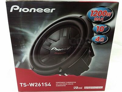 "Pioneer TS-W261S4 1200W 10"" Champion Series Single 4 ohm Car Subwoofer TSW261S4"