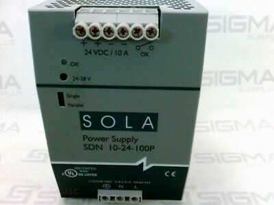 Sola SDN10-24-100P Power Supply 24 VDC, 10A, 115/230VAC 6.0-2.8 50/60 HZ
