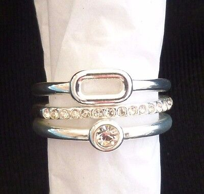 AVON Sparkling Links 3 Piece Ring Set Silver Tone Size 8 >NEW IN BOX<