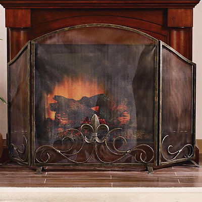 Fleur de Lis Iron Fireplace Screen by SPI Home 31735 -Brand New -Free Shipping