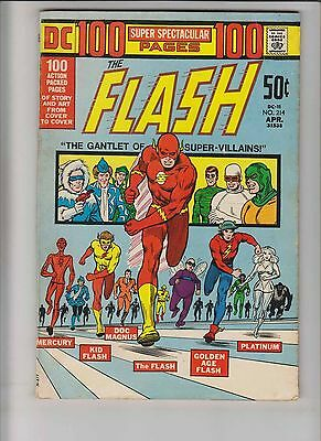 Flash #214 VG+ bronze age comic - 100 pages super spectacular DC-11 - race cover