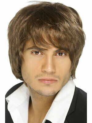 Adult Mens Brown Music Boy Band Wig Smiffys Fancy Dress Costume Accessory