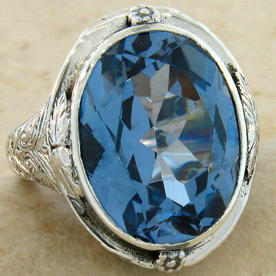 Huge 18 Ct Sim Aquamarine 925 Sterling Silver Antique Design Ring Size 6,#270