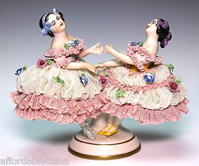 Volkstedt Dresden Lace Dress Girl Girls Playing Figure Figurine
