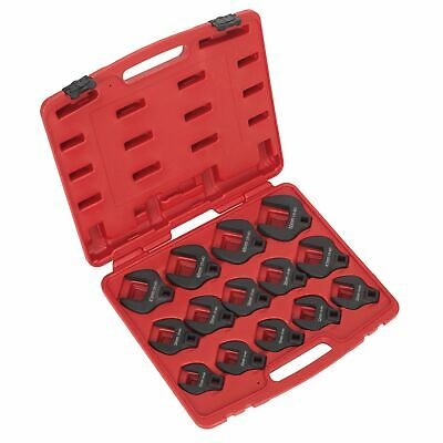 """Sealey Steel Crow's Foot Spanner Set 14pc 1/2""""Sq Drive Metric With Carry Case"""