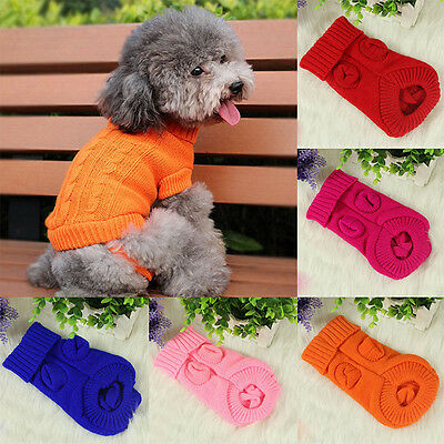 Small Pet Dog Puppy Cat Warm Sweater Clothes Knit Coat Winter Apparel Costume CI