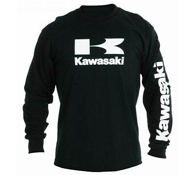 Kawasaki Stacked Logo L/S T-Shirt in Black - Size Large - Brand New