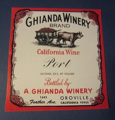 Old Vintage - GHIANDA WINERY - Port WINE LABEL - Oroville California