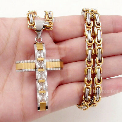 5MM Men BYZANTINE Chain Gold/Silver Stainless Steel Cross Pendant Necklace 18-36