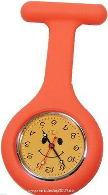 Smiley Schwesternuhr Silikon Orange Gelb Krankenschwesteruhr Nurse Watch Neu