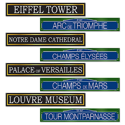 4 pc FRENCH Street Signs Paris France Cardboard Cutout Birthday Party Decoration