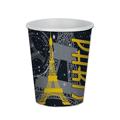 8 ct Parisian French Paris Eiffel Tower 9 oz hot/cold Paper Cups Birthday Party