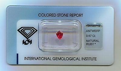 IGI Certified Thai Natural Ruby 0.67 carats - Transparent - RED - NO TREATMENT