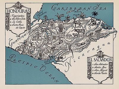 Charming HONDURAS and EL SALVADOR Map Fun & Funky Vintage 1943 Picture Map 2549