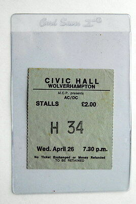 Ac/dc Powerage Uk Tour 26/4/1978 Wolverhampton Ultra Rare Ticket Bon Scott Angus