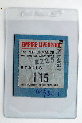 Ac/dc Very Rare Ticket #2 4Th May 1978  Empire Liverpool Powerage Tour Bon Scott