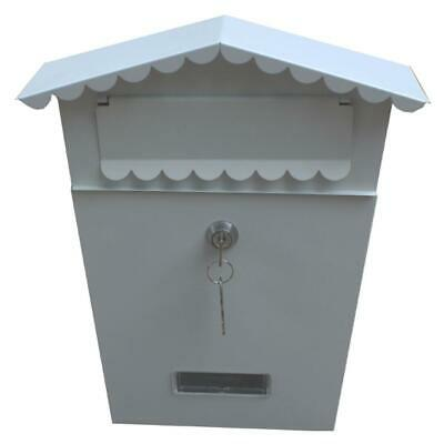 White Lockable Outside Letterbox Letter Post Mail Box Postbox With Fixing Kit