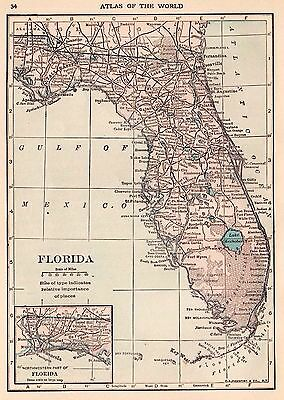 Antique MAP of FLORIDA Map 1917 Travel Gallery Wall Art  smap 2564