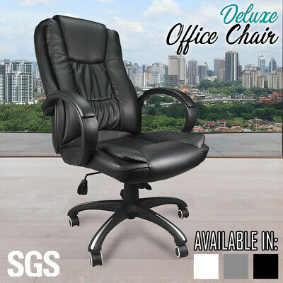 Executive High Back Office Chair PU LEATHER Premium Padded Computer Seat BLACK