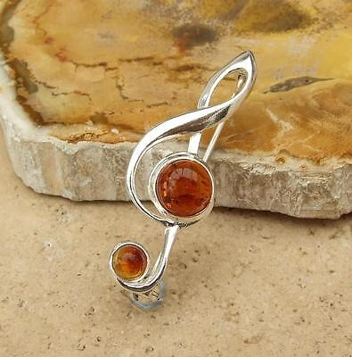 Treble Clef Cognac Baltic Amber 925 Silver Brooch Jewellery