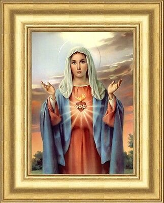 Small - Sacred Heart Of Mary Our Lady Picture Gold Moulded Frame - Others Listed