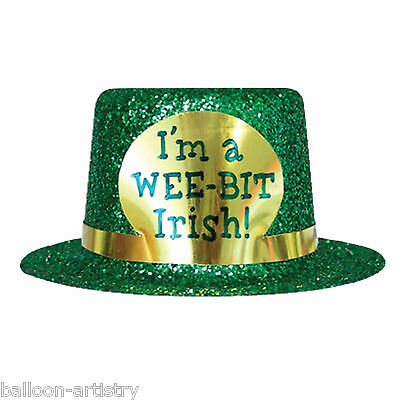 3 Happy St. Patrick's Day I'm A Wee Bit Irish Green Glitter Party Hats