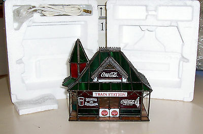Coca Cola Franklin Mint Lighted Stained Glass Train Station