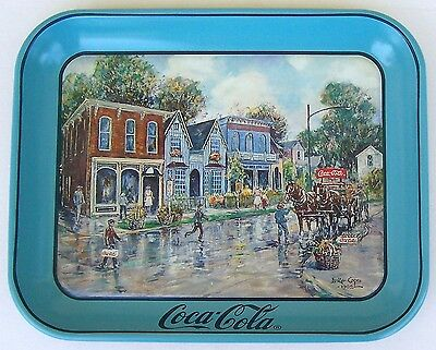 1994 Coca Cola Tray Dresden All-American Hometown Signed By Artist Leslie Cope