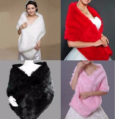 Elegant Bridal Wedding Long Faux Fur Long Shawl Stole Wrap Shrug Scarf Cape