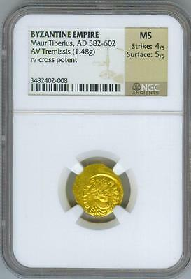 BYZANTINE EMPIRE Maur. Tiberius AD 582-602 *NGC MS* ANCIENT GOLD COIN
