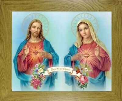 Small - The Sacred Heart Of Jesus And Mary Our Lady Framed Picture Oak Mdf Frame