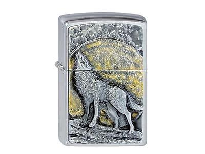 "ZIPPO ""WOLF AT THE MOONLIGHT"" HOWLING MOON BRUSHED CHROME LIGHTER *NEW in BOX*"